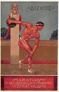 Czech Towns of Sokolske Marathon Pentathlon 1912 Postcard