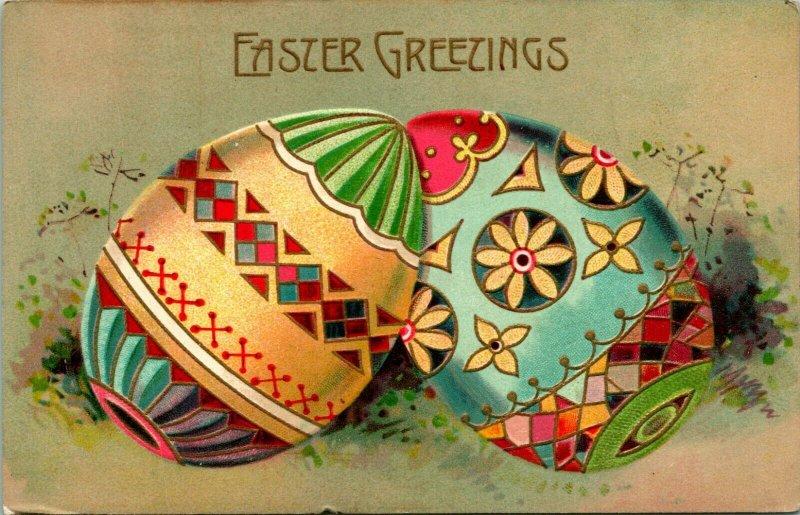 Vtg Postcard 1913 Easter Greetings Giant Ornate Decorated Eggs Embossed