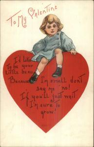 Valentine Little Boy on Giant Heart Unsigned HBG c1910 Postcard