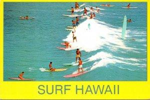 Hawaii Waikiki Beach Surfing Scene