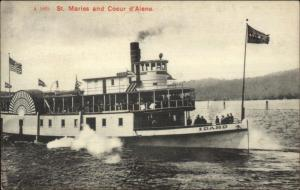 Steamer Boat IDAHO St. Maries & Coeur d'Alene c1910 Postcard