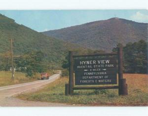 Pre-1980 TRUCK BY VINTAGE SIGN Hyner Park By Lock Haven & Coudersport PA c8632