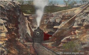 C34/ Eureka Springs Arkansas AR Postcard c1940s Railorad Tunnel Steam Locomotive