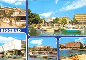 Croatia Biograd Hotel Terrace Auto Cars Harbour Boats Bateaux 1983