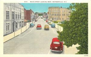 Waynesville North Carolina~Main Street~Pure & Esso Gas Stations~1940s Postcard