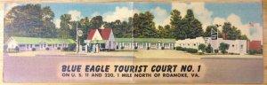 Blue Eagle Tourist Court No. 1 Roanoke, VA Roadside 1949 Vintage Double Postcard