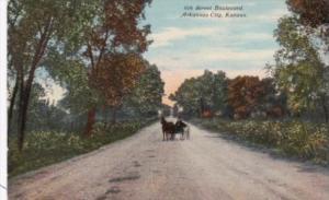 Kansas Arkansas City Horse and Carriage On 6th Street Boulevard