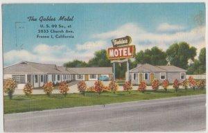 CA FRESNO I, CALIFORNIA - GABLES MOTEL 1953 Postcard