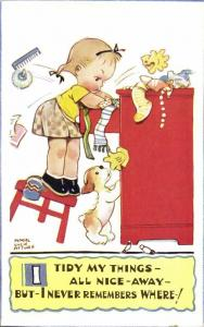 Artist Signed Mabel Lucie Attwell No. 5054, I Tidy my Things all Nice Away