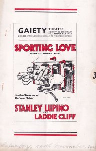 Sporting Love Musical Horse Race Racing Old Theatre Programme
