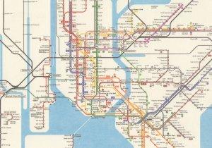 New York Train Underground Subway Map Postcard