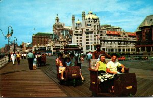 New Jersey Atlantic City Rolling Chairs On The Boardwalk 1963