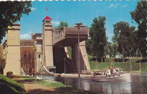 Small Boat Near the World Famous Hydraulic Lift Lock, Peterborough, Ontario, ...