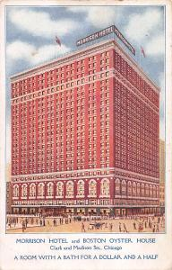 Morrison Hotel & Boston Oyster House, Chicago, IL, Early Postcard, Used