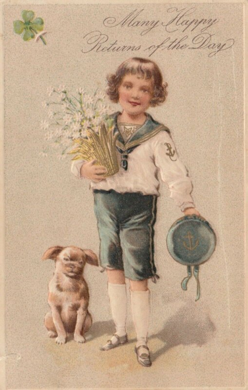 GREETINGS, PU-1907; Boy wearing sailor outfit, holding flowers, Dog, PFB 6199