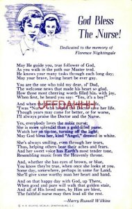 GOD BLESS THE NURSE Harry Russell Wilkins poem in memory of Florence Nightingale