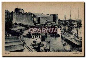 Old Postcard Brest boat castle