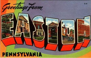 BIG LARGE LETTER VINTAGE POSTCARD GREETINGS FROM PENNSYLVANIA EASTON UNPOSTED