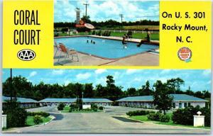 Rocky Mount, North Carolina Postcard CORAL COURT Motel Route 301 Roadside c1960s