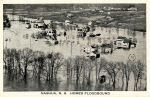 NH - Nashua. 1936 Flood. Homes Floodbound