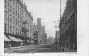 Des Moines Iowa~Fourth Street Scene~People Along Storefronts~Trolley Tracks~1905