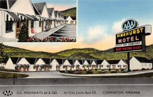 Covington Virginia birds eye view Pinehurst Motel vintage pc Z16367