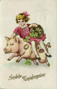 Happy New Year, Girl with Basket riding on a Pig, Four-Leaf Clovers (1927)