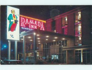 Unused Pre-1980 NEON SIGN AT RAMADA INN MOTEL Nashville Tennessee TN u6802-12