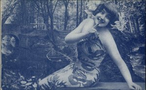 Pretty Woman in Tropical Dress Rowboat Backdrop c1905 Postcard
