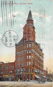 Spokane Washington~Review Building~Lady Xing Street~Horse Wagon~1910 Postcard