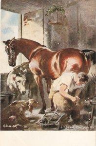 Sir Edward Landseer. Shoeing the horse Fine painting, vintage English PC