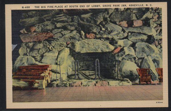 North Carolina colour Fireplace Asheville Grove Park Inn unused
