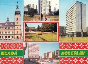 Postcard Czech republic praha prague multi view mlada boleslav church tower park