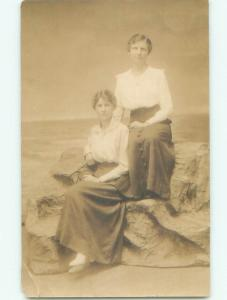 Pre-1918 rppc WOMEN POSING Studio In Ocean Grove New Jersey NJ i9320