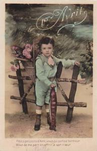 1er Avril April Fool's Day Young Boy Holding Basket With Fish 1912