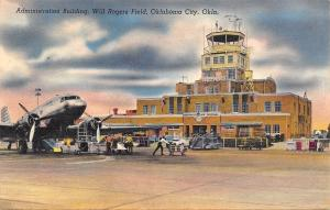 Oklahoma City~Airport~Will Rogers Field~Control Tower~Prop Planes~1948 Linen PC