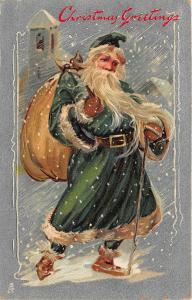 Green Suited Santa Claus Christmas Delivering Toys Walking Stick Tuck Postcard