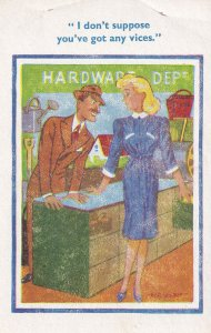 Hardware Shop Woman With Vices Comic Postcard