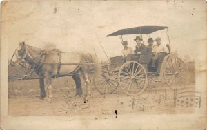 G4/ Canton Ohio RPPC Postcard 1912 Horse Drawn Wagon Family