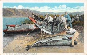 G45/ Mitchell South Dakota Postcard Exaggeration Fishing Axe Men Boats