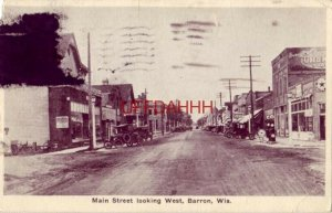 1929 MAIN STREET LOOKING WEST, BARRON, WI vintage gas station and automobiles
