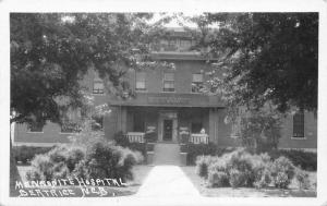 Beatrice NE Nurse on Porch~Mennonite Deaconess Hospital Facade~Shrubs~RPPC c1919