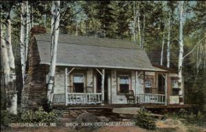 Moosehead Lake ME Birch Bark Cottage Kineo c1910 Postcard