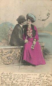 Romantic Couple Vintage Colored Postcard 04.00