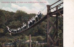 Near STARVED ROCK, Illinois, 1901-1907; Suspension Bridge At Deer Park