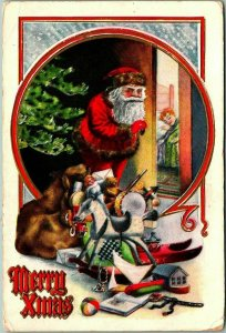 1911 Christmas Postcard SANTA CLAUS w/ Pile of Toys / Pepping on Sleeping Girl