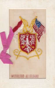 Embroidered Wesolego Allelujal , 1914-18 ; Polish & USA Flags