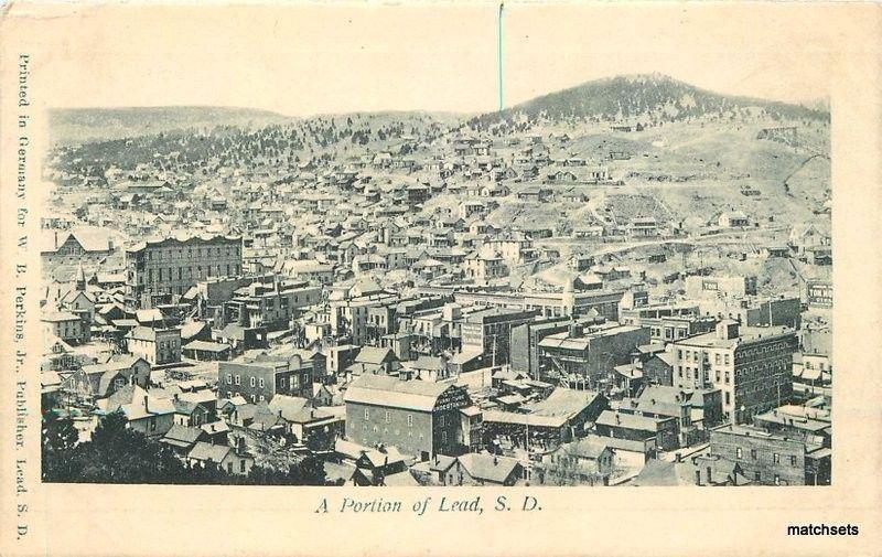 Aerial View portion of Lead South Dakota C-1905 Perkins postcard 2992