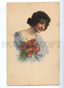 189498 FASHION Charming Woman w/ POPPY Nymph Vintage PC