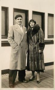 c1920 Real Photo PC Fashion Costume Couple on Cruise Ship Europe Fancy Fur Coat